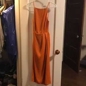 NWT. Orange ASOS midi halter dress with slit.